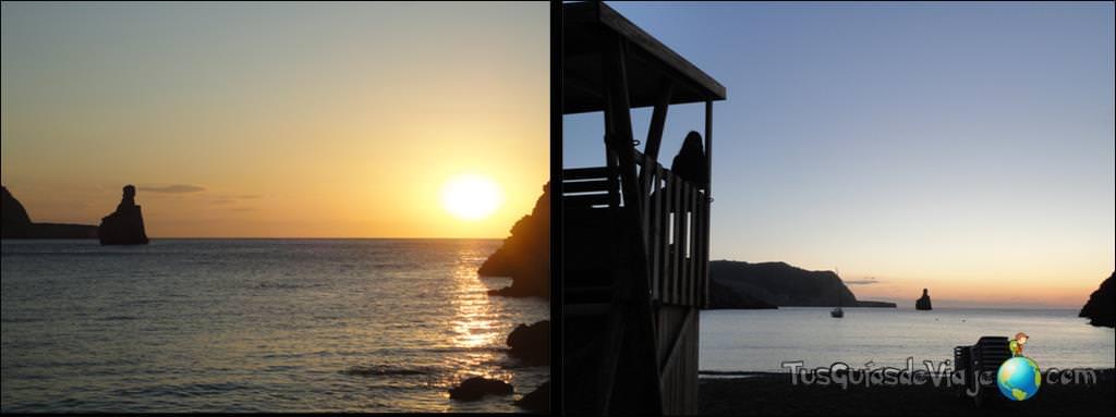 calas de ibiza con puesta de sol y hippy