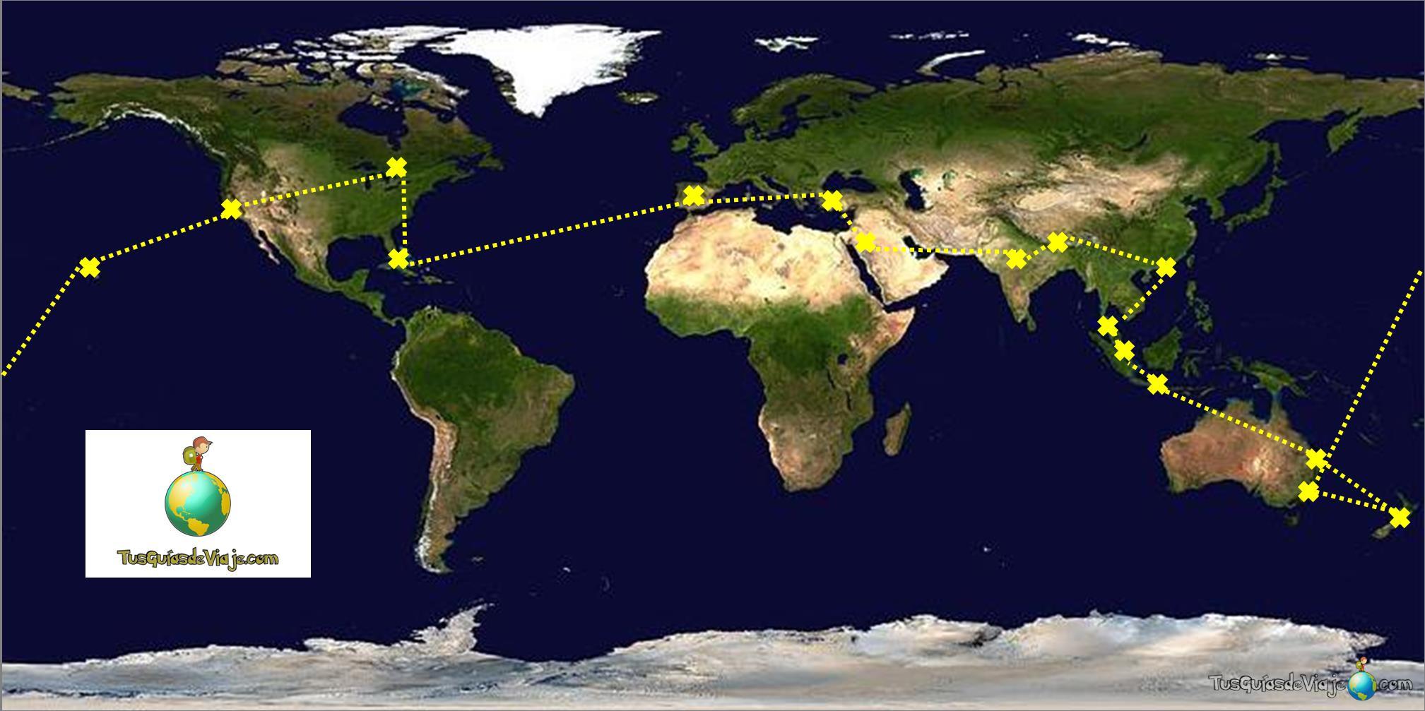 mapa para dar la vuelta al mundo en 80 días