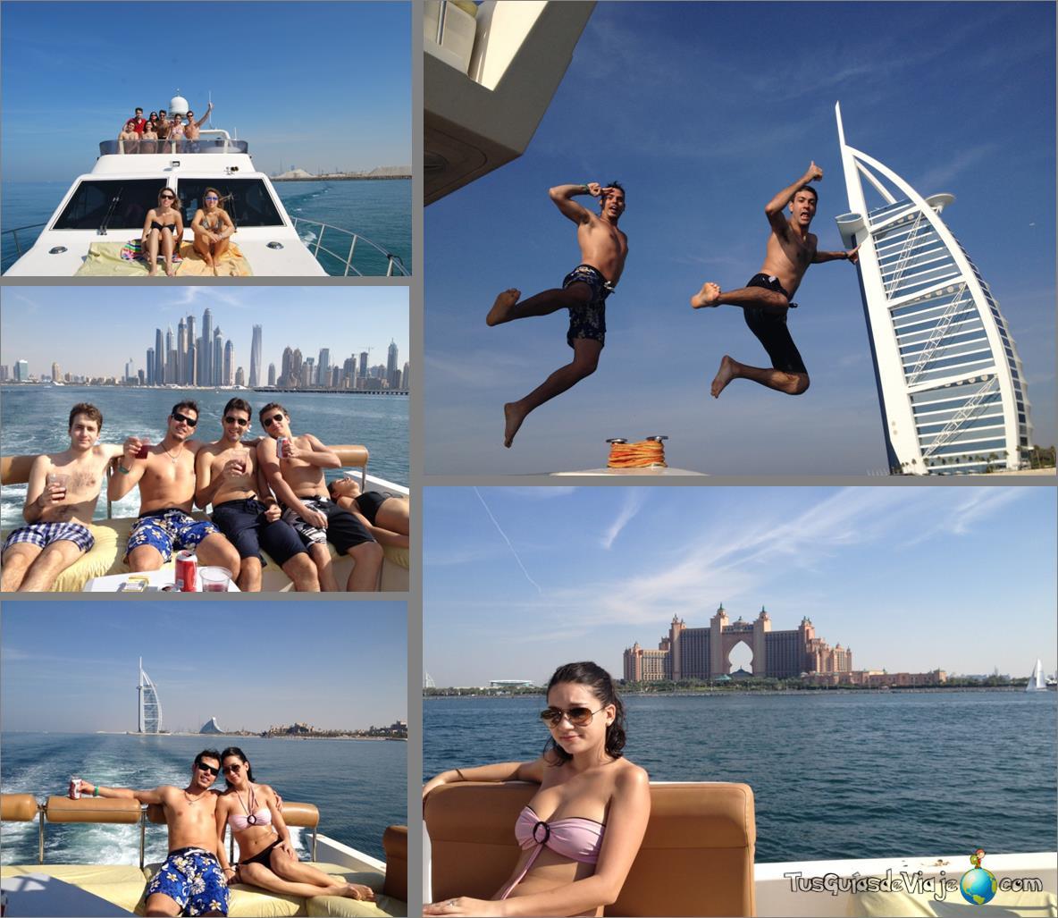 excursión en barco por la palmera Jumeirah viendo el hotel atlantis