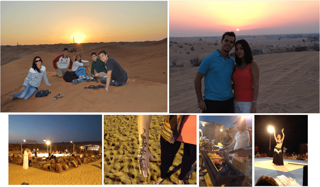 puesta de sol en el desierto de dubai