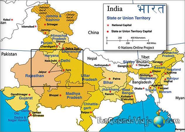 mapa de la india y triángulo de oro