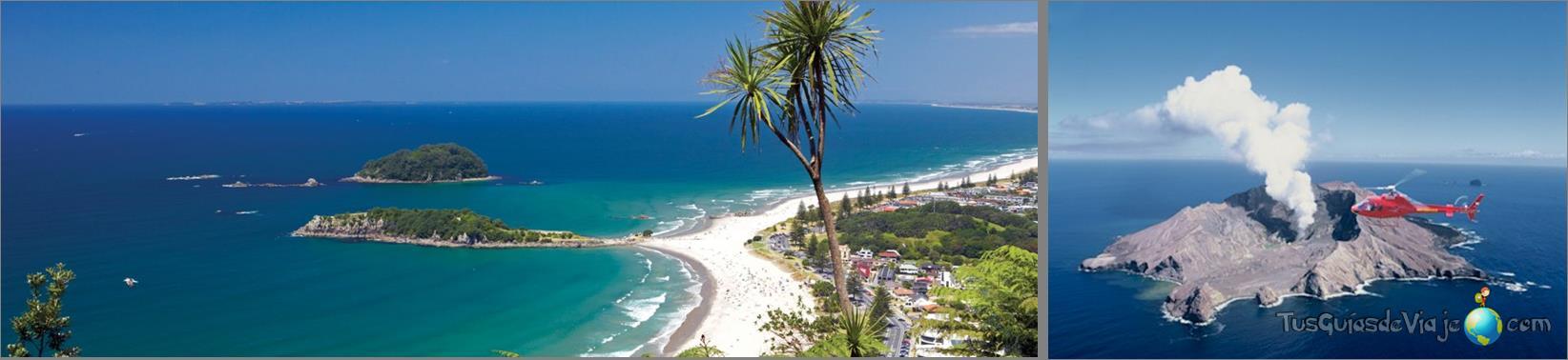 playas y volcán en la bahía de la abundancia y en la isla white