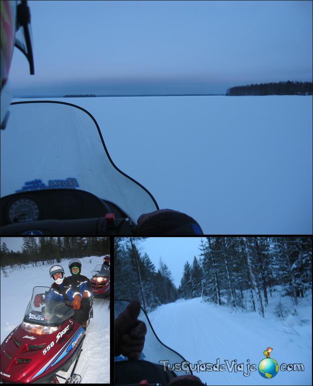 Excursión con moto de nieve y huskies en laponia
