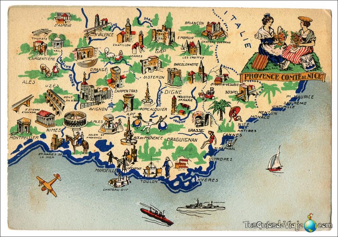 Mapa de la Costa Azul