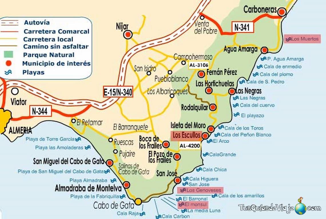 Mapa de Cabo de Gata