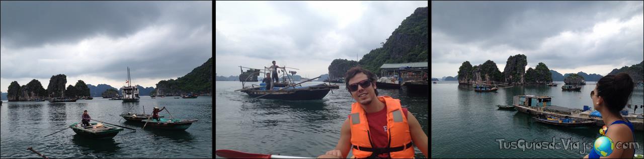Pueblos flotantes en kayak por la bahía de halong