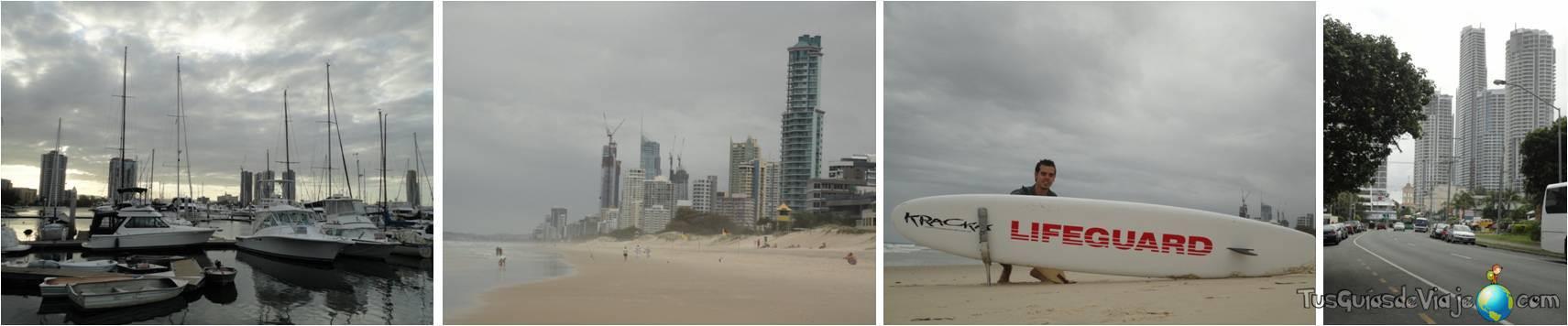 Playa y rascacielos en Surfers Paradise